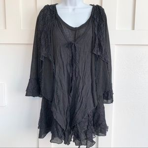 Pretty Angel Black Lagenlook Layered Blouse